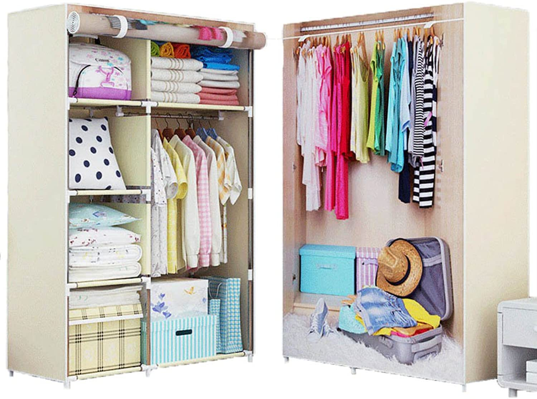 FKUO New 3D Printing Non-Woven Fabric Wardrobe Storage Organizer Detachable Clothing Portable Closet Bedroom Fashion Furniture (Clothes-Pattern, 10643157CM)