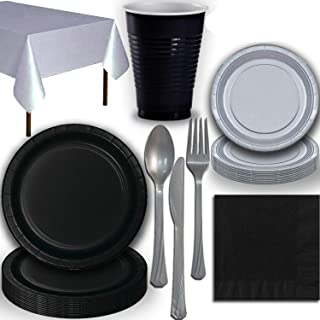 Disposable Party Supplies, Serves 40 - Black and Silver - Large and Small Paper Plates, 12 oz Plastic Cups, Heavyweight Cu...