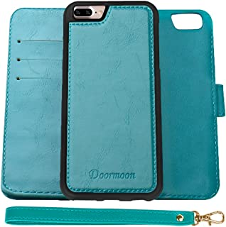 Doormoon Wallet Case for iPhone 7 Plus, iPhone 8 Plus, PU Leather Detachable Flip Folio Kickstand Cover Credit Card Slot Magnetic Closure (5.5 inch) Turquoise