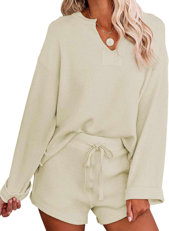 ROSKIKI Women's Solid Pajamas Set Long Sleeve Tops with Shorts Lounge Set Nightwear