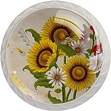 Lade Handgrepen Trek Decoratieve Kast Knoppen Dressoir Lade Handvat 4 Pcs,Honing Bijen en Wilde Bloemen
