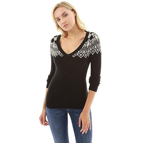 PattyBoutik Women s V Neck Long Sleeve Fair Isle Sweater 93d846964