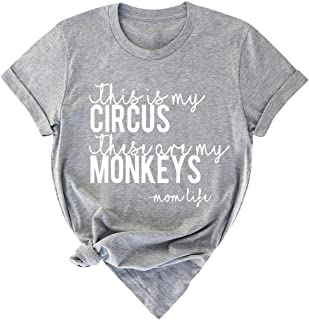 Dresswel Women This is My Circus These are My Monkeys Mom Life Letter Print Crew Neck Solid Color Casual T-Shirt
