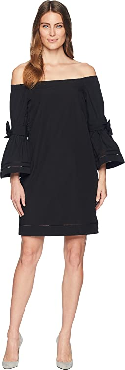 Poplin Off the Shoulder Shift Dress