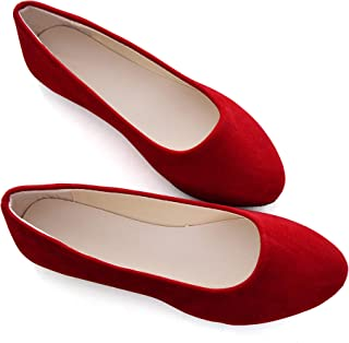Stunner Women Cute Slip-On Ballet Shoes Soft Solid Classic Pointed Toe Flats Red 40