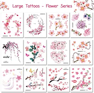12 Sheets Large Flower Temporary Tattoos - Sexy Body Art Tattoo Sticker for Women Girl for Arms Legs Shoulder or Back, Scar Cover Up Makeup Fack Tattoos Waterfroof Sticker Rose Flower Design
