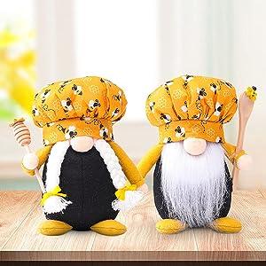 MOCOIMOP 2PCS Bumble Bee Chef Gnomes Decorations, Bee Decor, Bee Gnomes Home Decor, Handmade Elf Plush Doll Bees Gnome Plush Scandinavian Tomte Dwarf, Honey Bee Elf Decor (2PCS Bumble Bee Chef Gnomes)