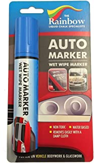 Car Paint Marker Pens Auto Writer Blue - Wide Tip - All Surfaces, Windows, Glass, Tire, Metal - Any Automobile, Truck or Bicycle, Water Based Wet Erase Removable Markers Pen