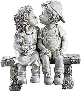 gazechimp First Kiss Resin Garden Statue, Girls and Boys Kissing Yard Flower Bed Figurine, Home Office Desktop Shelf Ornament, Lawn Art Sculptures