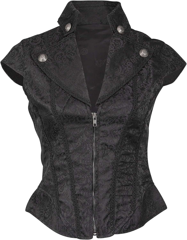 Glam and Gloria Womens Black Brocade Goth Steampunk Vest Short Sleeve Jacket