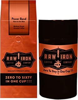 Extra Strong Ground Gourmet High Caffeine Coffee Power Band High Grade Rich Bold Sumatra Gayo Mountain Arabica Blend Small Batch 12oz Bag with Tight Vac Storage Container by Raw Iron Coffee Company
