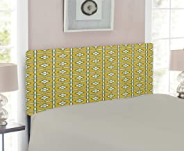 Lunarable Mustard Headboard, Retro Floral Ceramic Pattern with Moroccan Style Folk Effects, Upholstered Decorative Metal Headboard with Memory Foam, for Twin Size Bed, Reseda Green White