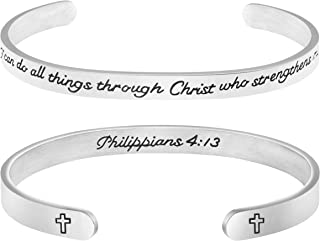 Religious Bracelets for Women Inspirational Christian Gifts Bible Verse Jewelry I can do All Things Through Christ who Strengthens me Philippians 4:13
