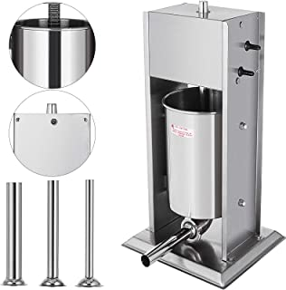 Happybuy Sausage Filler 5L 11LB Vertical Meat Stuffer Commercial Stainless Steel with 4 Filling Funnels Manual, Silver