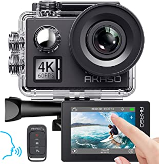 AKASO Action Cam Native 4K/60fps 20MP WiFi,Touch Screen,Comandi Vocali,EIS 40m Impermeabile, 8 Volte Zoom, Angolo Variabil...