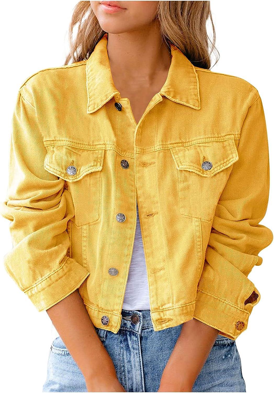 Casual Jean Jacket Womens Long Sleeve Basic Denim Jacket Boyfriend Stretch Denim Jackets Coat
