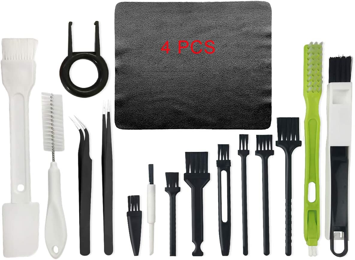 Computer Cleaning Kit, 19 in 1 Multi-Purpose Brushes Anti Static Brushes Clothes for Computer Printer Car Player Window