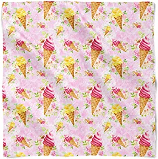 Beach Time Watercolor Icecream Cones Satin Style Scarf