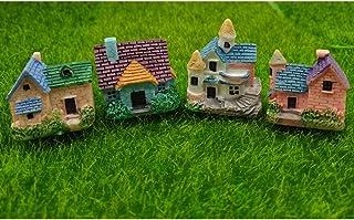 EMiEN 4 Pieces Mini Villa House Miniature Ornament Kits,Miniature Ornament for DIY Dollhouse Decoration Fairy Garden Plant...