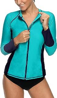 CharmLeaks Women's Long Sleeve Rash Guard Sun Protection Zip Front Swim Shirt