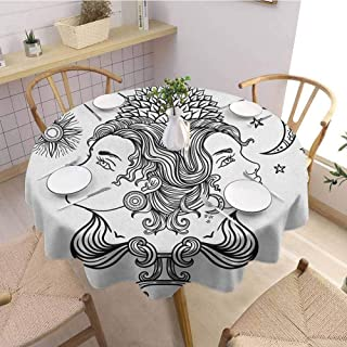 Zodiac Gemini Mardi Gras Tablecloth Romantic Mystical Horoscopes Day and Night with Happy and Sad Faces Tablecloth Waterproof 43 Inch Round Black and White