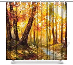 Watercolor Landscape Painting Colorful Bouquet Lilly Flowers and Birds Waterproof Shower Curtain Decor, Fabric Bathroom Se...