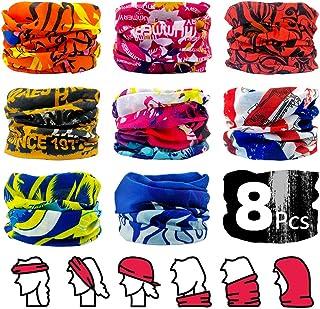 ALLYAOFA 8 Pack Elastic Seamless Moisture Wicking Neck Gaiter Headband, Head wrap Balaclava Tube Mask Multifunctional Head...