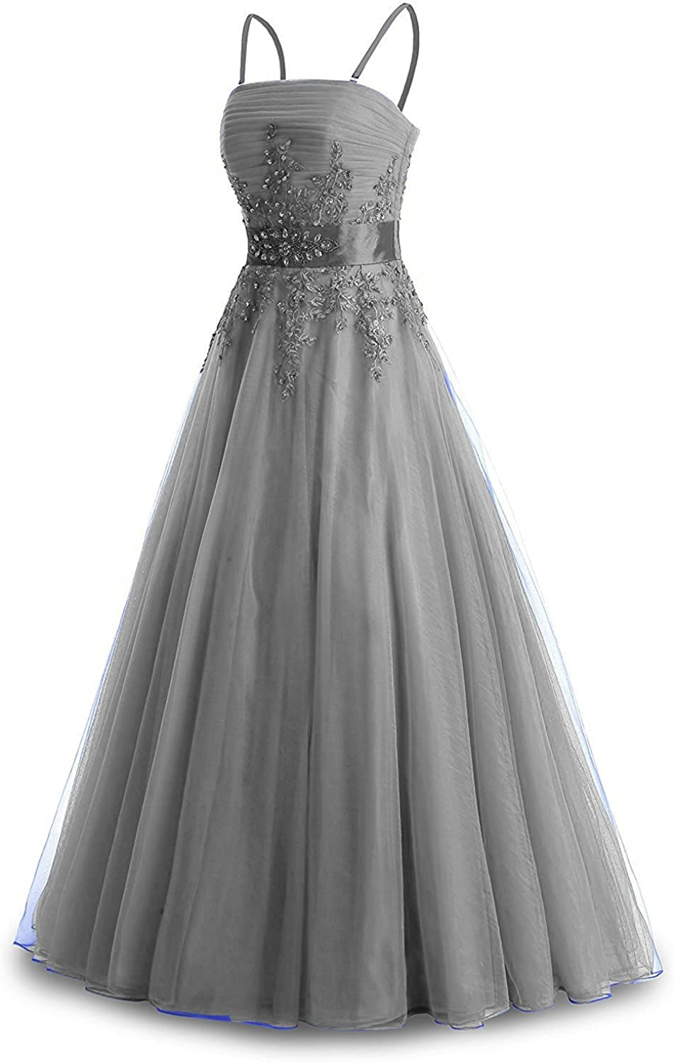 Lemai Beaded Long A Line Prom Dress Evening Party Gowns Lace Appliques