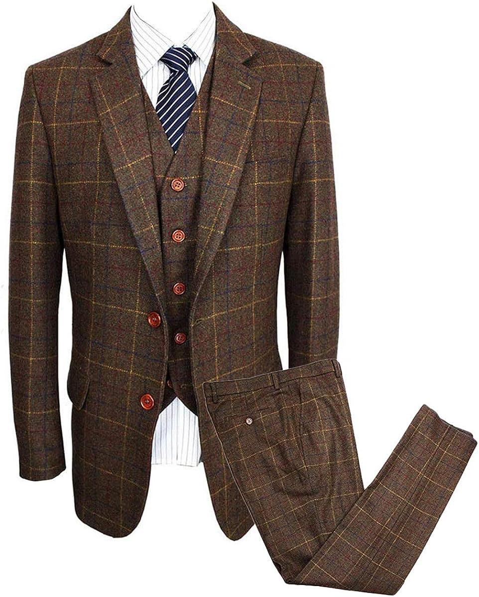 Wemaliyzd Mens Vintage 3 Piece Checkered Plaid Suit Tweed Blazer Vest Pants