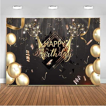 Mehofoto Joyeux Anniversaire Toile de Fond 7x5ft Champagne Ballons Décorations de Fête d'anniversaire 30e 40e 50e 60e Anniversaire Photographie Toile de Fond