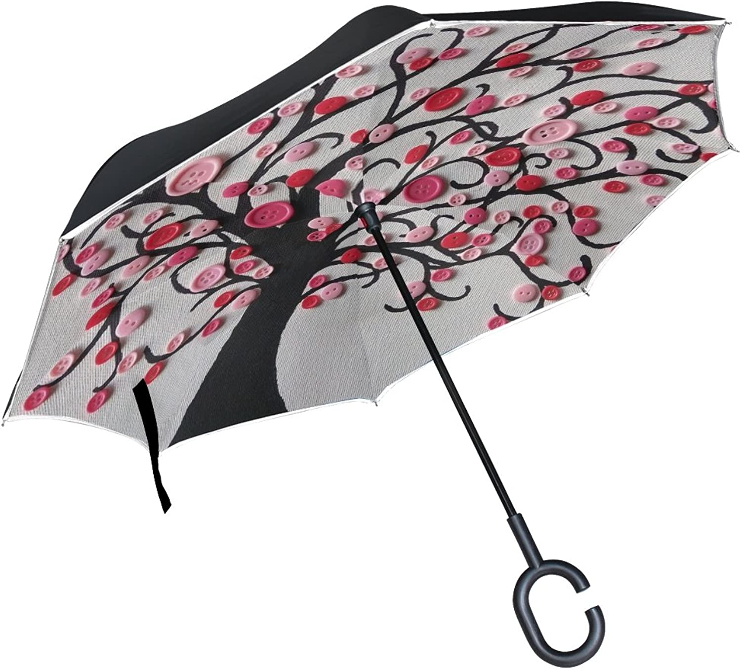 Double Layer Ingreened Knots Tree Pink Umbrellas Reverse Folding Umbrella Windproof Uv Predection Big Straight Umbrella for Car Rain Outdoor with CShaped Handle