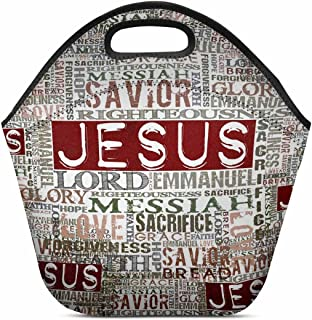 InterestPrint Vintage Jesus Religious Bible Verse Lunch Bag Tote Handbag Lunchbox Insulated Neoprene Gourmet Tote Cooler Warm Pouch 11.93