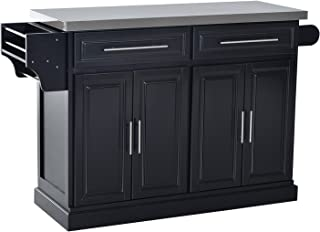 HomCom Modern Rolling Kitchen Island Storage Cart w/ Stainless Steel Top - Black