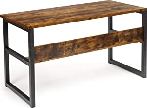 """Computer Desk with Bookshelf 55"""" Large Computer Table with Storage Shelves Modern Work Desk with 1.18"""" Thicker Tabletop and Strong Metal Frame Rustic Office Desk for Home Office (Rusty)"""