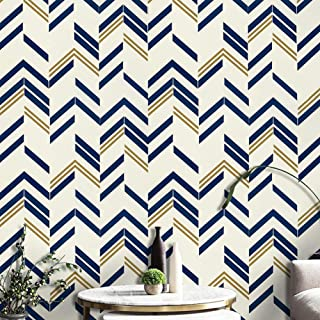 Blue Chevron Stripe Wall Paper Blue Peel and Stick Wallpaper Blue Self Adhesive Wallpaper Removable Wallpaper Modern Design Wall Covering Shelf Liner Drawer Liner Vinyl Film Roll 78.7