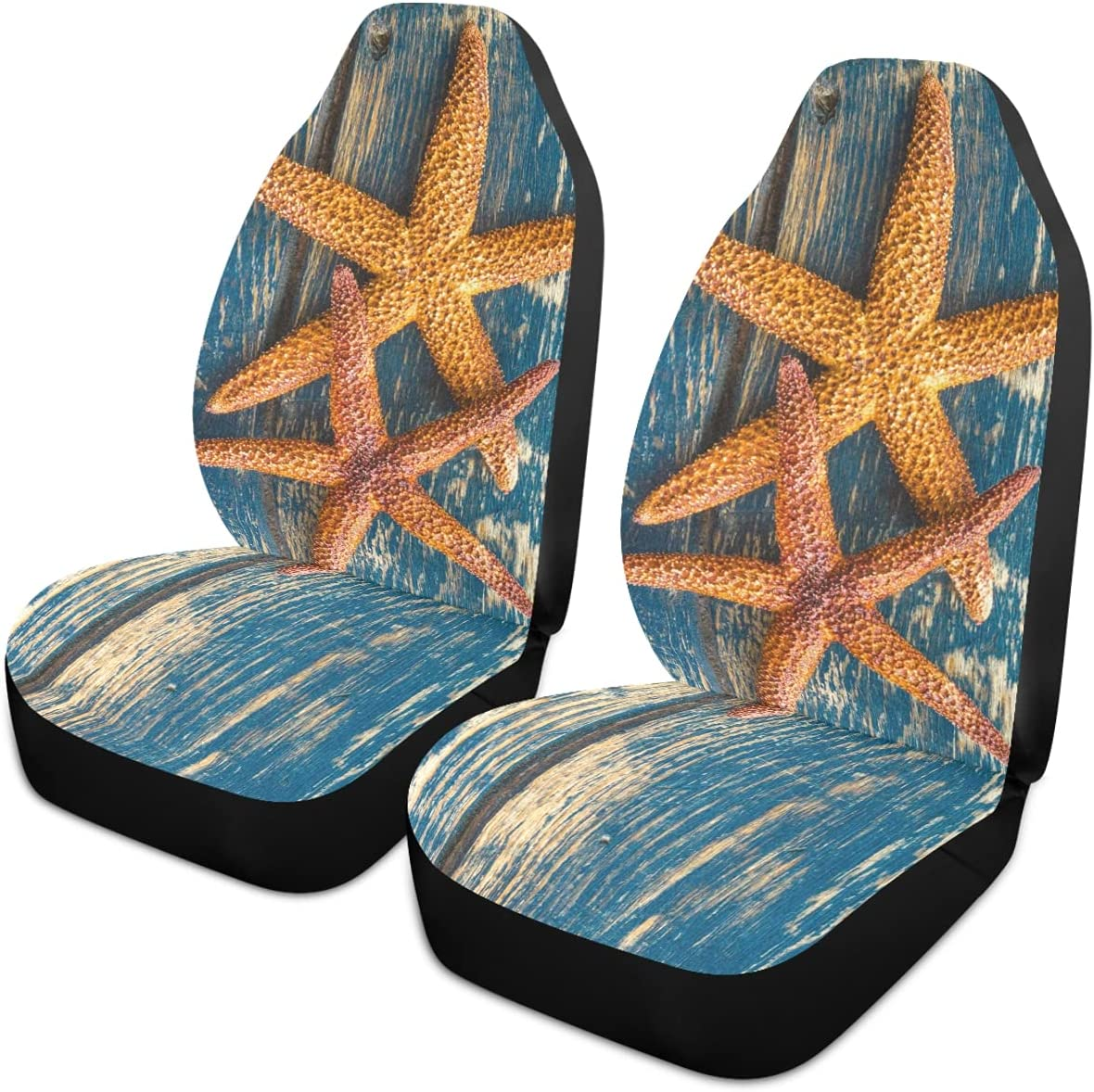 Oarencol New product type Summer Two Starfish Wooden Car Max 57% OFF Covers Seat Universal Au