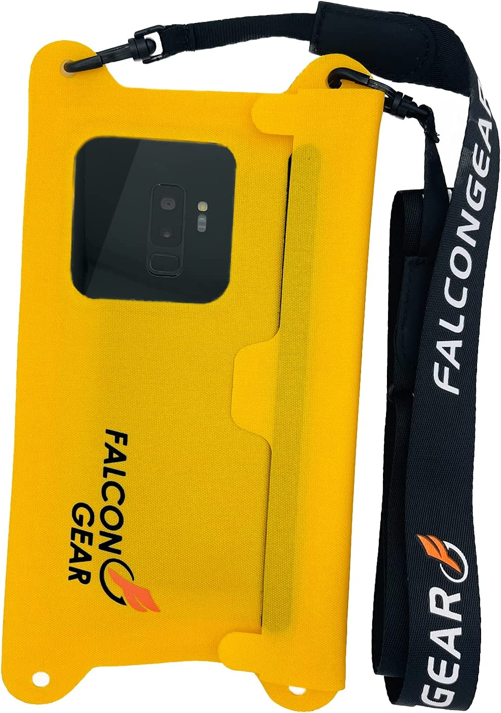 """FalconGear Waterproof Phone Pouch Universal Waterproof Phone Case with Adjustable Lanyard IPX8 Waterproof Phone Bag for iPhone 12/11 Pro Max XR Galaxy S21/20 Ultra & More Up to 7.5"""" (Yellow)"""