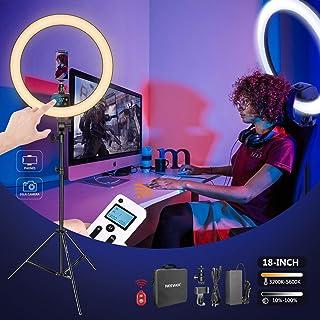 Neewer Avanzado 48cm LED Luz Anillo Soporte Control Táctil Manual con Pantalla LCD Control Remoto 2,4G y Luces Múltiples 3200-5600K Soporte Incluido para Maquillaje Youtube Video (Negro)
