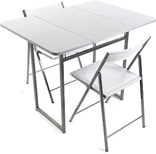 Versa 19840050 Mesa Plegable con Dos sillas Brenna con Respaldo para Cocina Comedor balcón o terraza en Color Blanco de ...