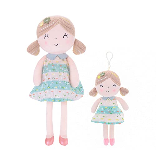 Gloveleya Baby Girl Gifts First Baby Doll Plush Dolls Set Green 17 Inches with Gift Box (L + S)