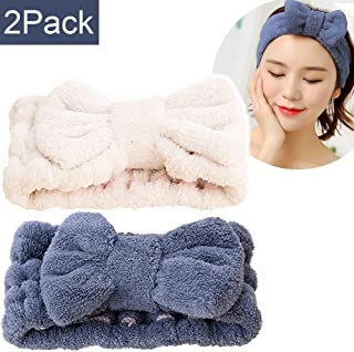SweetCat Microfiber Bowtie Headbands, Extrame Soft & Ultra Absorbent, Comfort to Makeup Wash Spa Yoga Shower Facial Hair Band for Girls and Women (Blue+White)