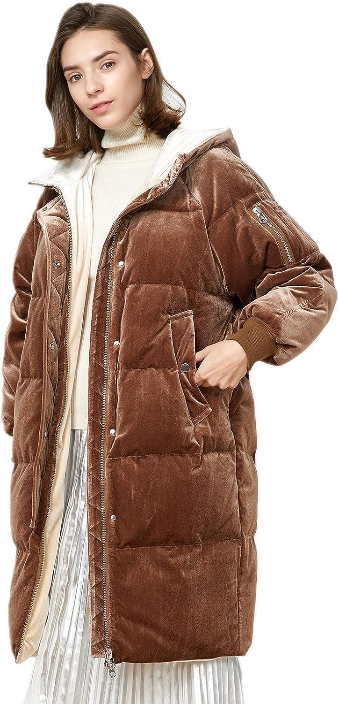 BOSIDENG Women's Winter Down Jacket Thick Velvet Hooded Long Parka Light Outerwear