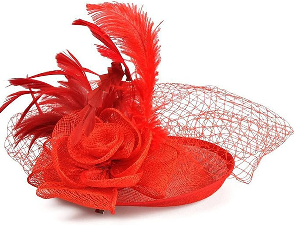 Eliffete Sinamay Fascinator Hats for Women Tea Party Headpiece Feather Hair Clip