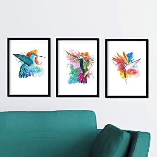 Nacnic Pack de 3 Photos pour encadrer. des Oiseaux au Style Aquarelle (Format A4). Les Trois Imprimées sans Cadre.