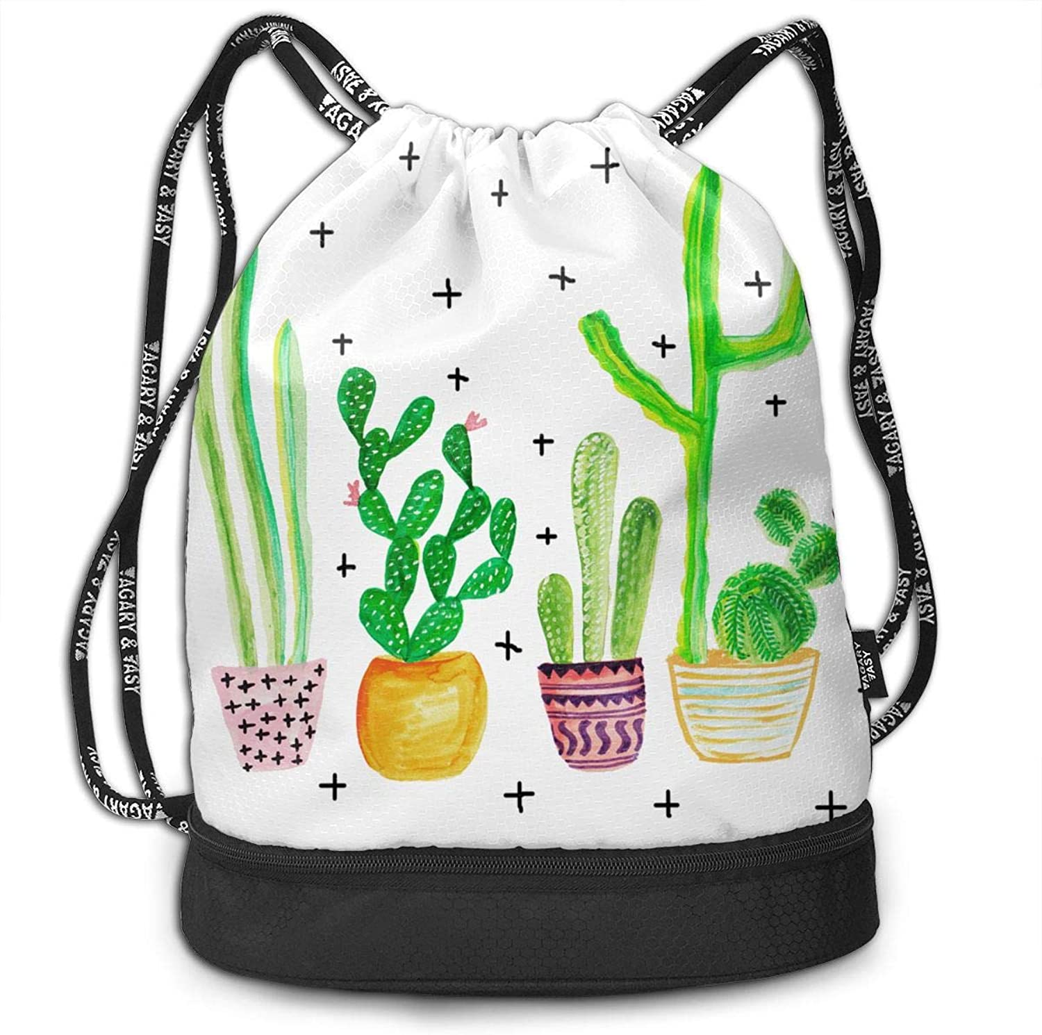 c6bf33fbd6f7 Gymsack Cactus Fresh Print Drawstring Bags Simple Shoulder Bags Gym ...
