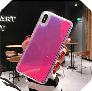 Glitter Luminous Neon Sand Case for iPhone 6 6s 7 8 Plus 11 Pro X XS MAX XR Liquid Quicksand Glow The Dark Soft Phone Case Cover-Rose Red-for iPhone 6s Plus