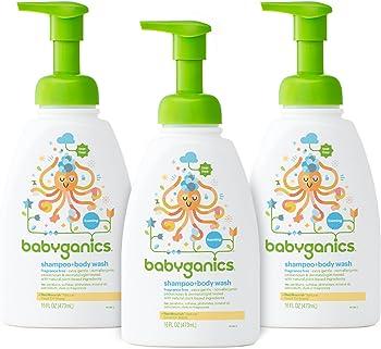 3-Pack 16oz Babyganics Baby Shampoo and Body Wash