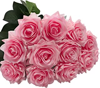 DIGIROOT Artificial Flowers Fake Rose, 12pcs Real Touch Silk Rose Flowers DIY for Wedding, Party and Home Decoration, Pink