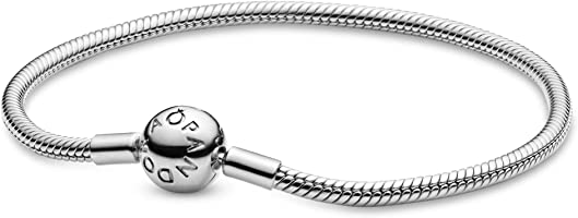PANDORA Jewelry Smooth Moments Snake Chain Charm Sterling Silver Bracelet