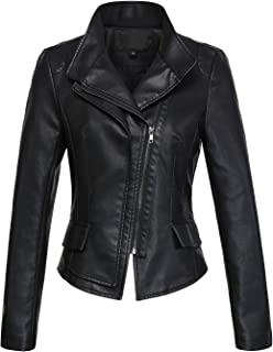 Women's Stylish Oblique Zip Slim Faux Leather Biker Outerwear Jacket